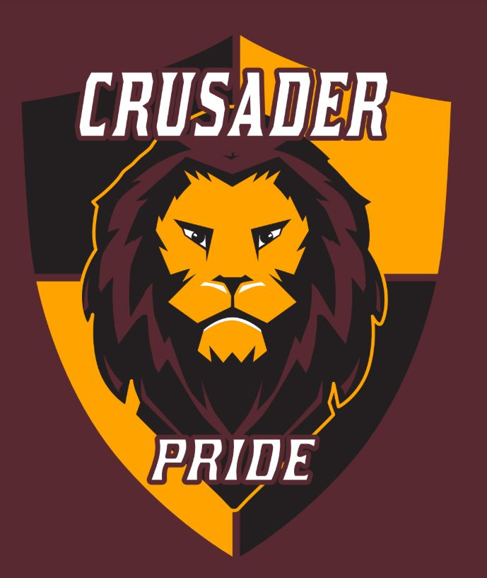 Lion head on shield with Crusader Pride text